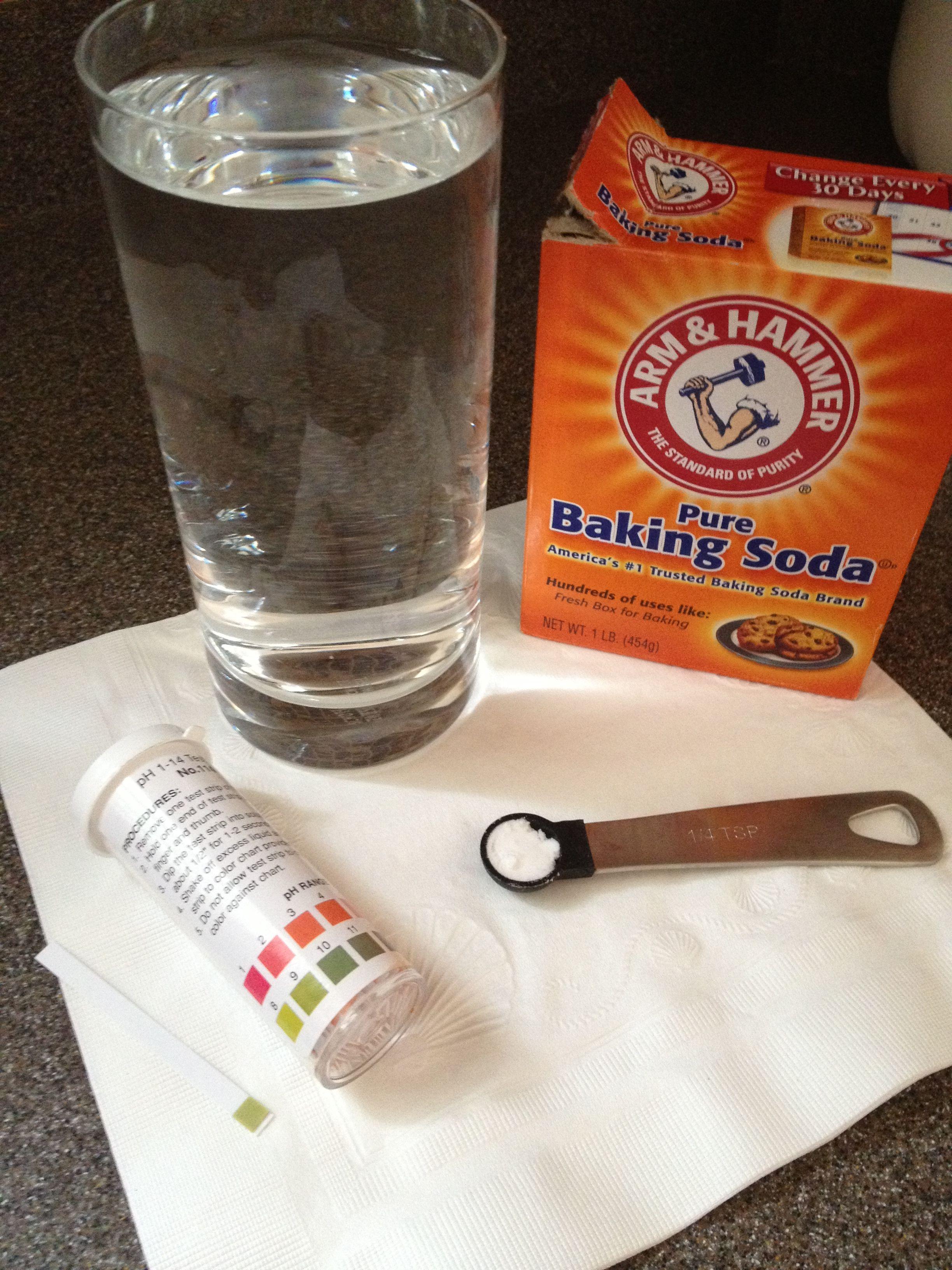 Add 1/4 tsp baking soda to 8 oz water = 8.5% Alkaline Water