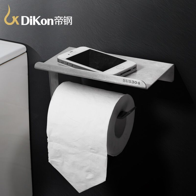 DiKon Toliet Paper Holder With Shelf Solid 304 Stainless Steel Wall Mounted  Bathroom Accessories Tissue Rack