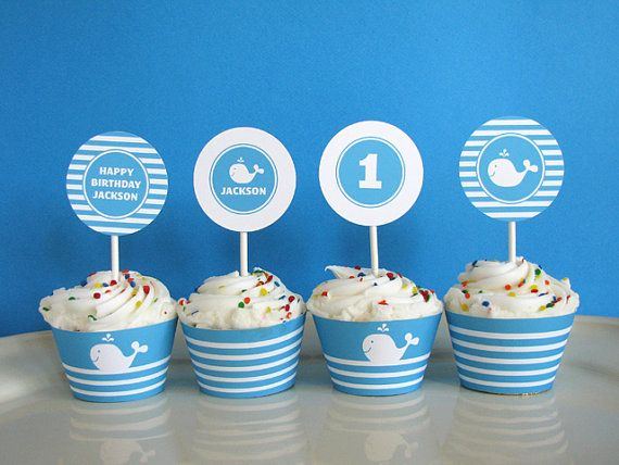 Whale birthday First birthday Cupcake Toppers printable party