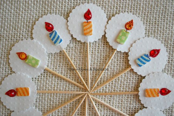 Candle Cupcake Toppers Baby 1st Birthday Blue by OnceUponASprinkle, $9.00