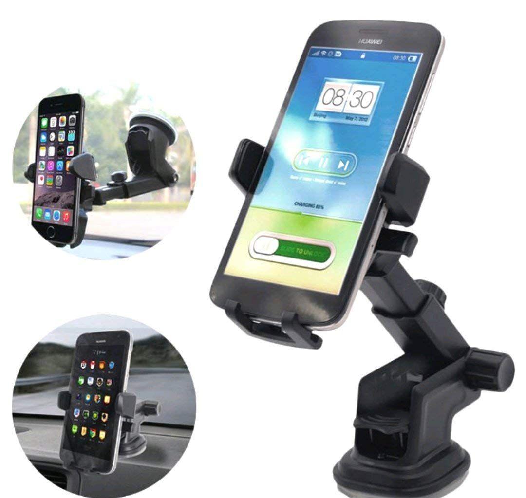 Bovon Support T/él/éphone Voiture Support Voiture Auto Universel Ventouse sur Pare-Brise et Tableau de Bord avec Bras T/élescopique pour Smartphones