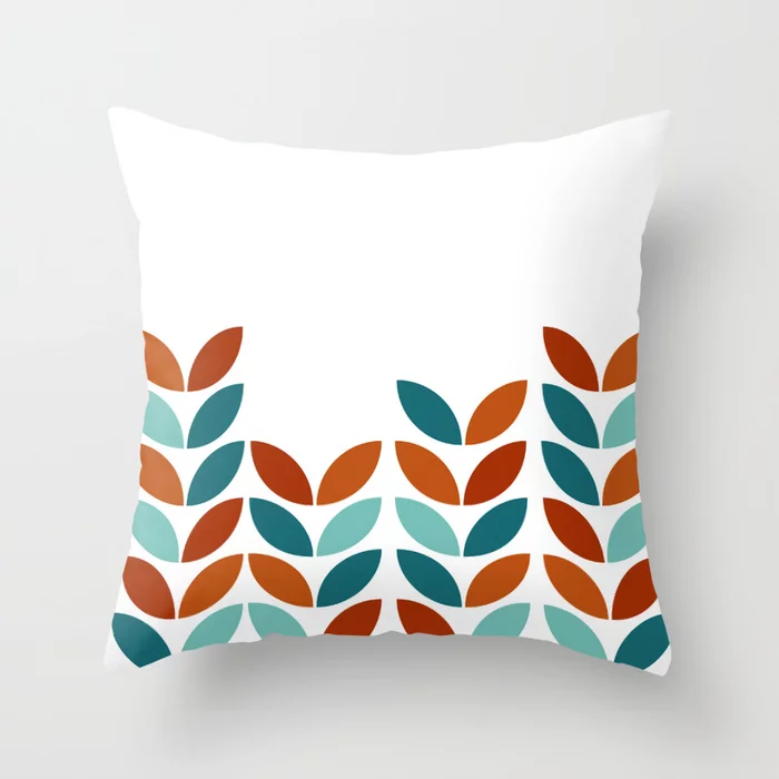 Buy Pattern Nature Leaf Geometric Blue Brown Throw Pillow By Carolsalazar Worldwide Shipping Available At Socie In 2021 Brown Throw Pillows Brown Throws Brown Pillows