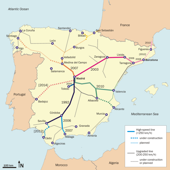 Spain AVE train | España | Spain, Map of spain, Santiago de Compostela