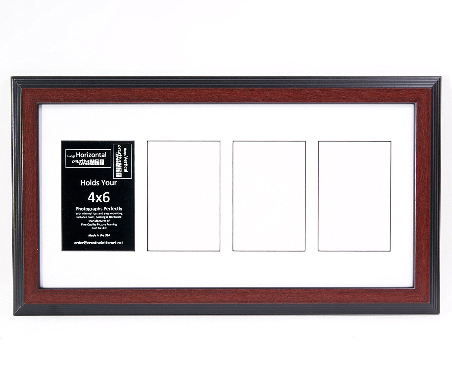 4 Opening Glass Face Mahogany Picture Frame To Hold 4 By 6 Photographs Including 10 By 20 Inch White Mat Collage Picture Frames Small Pictures Frame