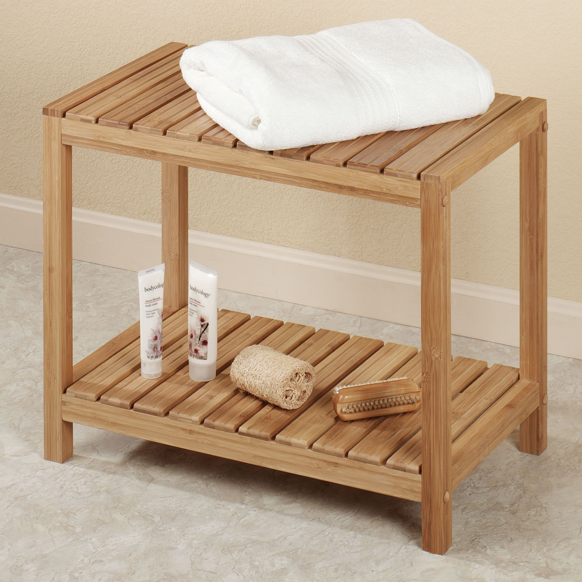Bathroom Bench bamboo spa bench: for our spa bathroom | time to redecorate