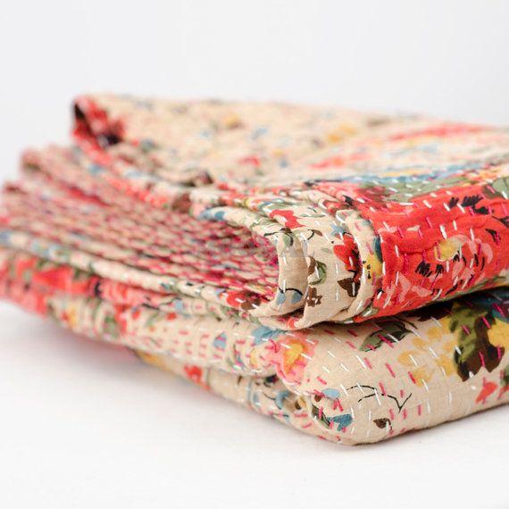 Beige color kantha Queen Kantha Quilt Blanket Bedspread by Moomal