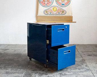 Vintage File Cabinet Refinished in Navy Blue TwoDrawer Vertical