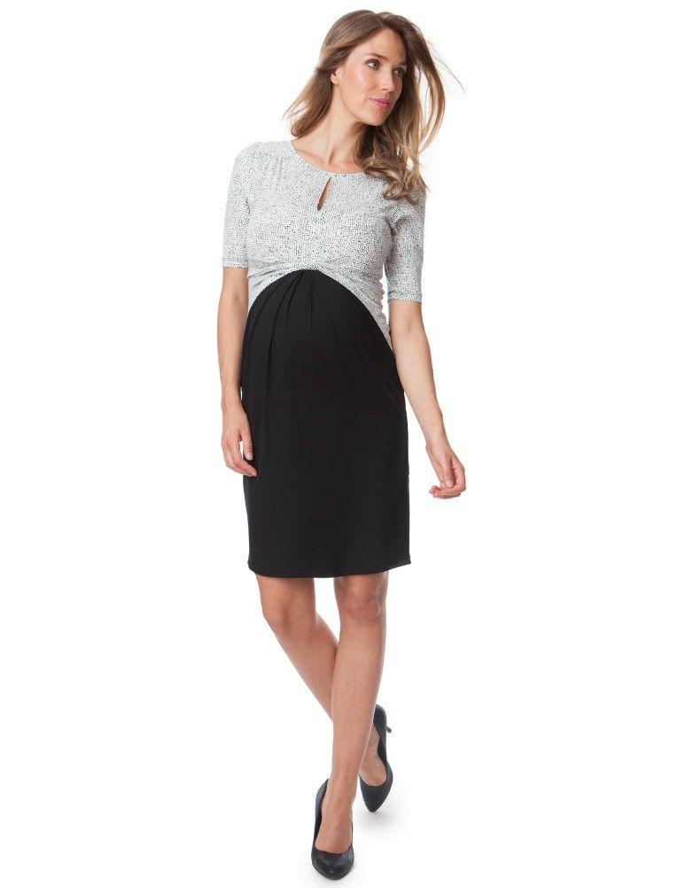 ebb24d68e1a Black   White Front Twist Maternity Dress