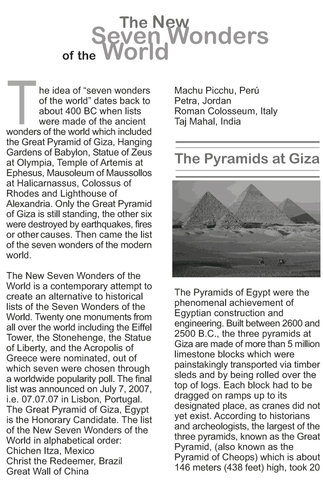 grade reading lesson essays the new seven wonders of the grade 9 reading lesson 15 essays the new seven wonders of the world