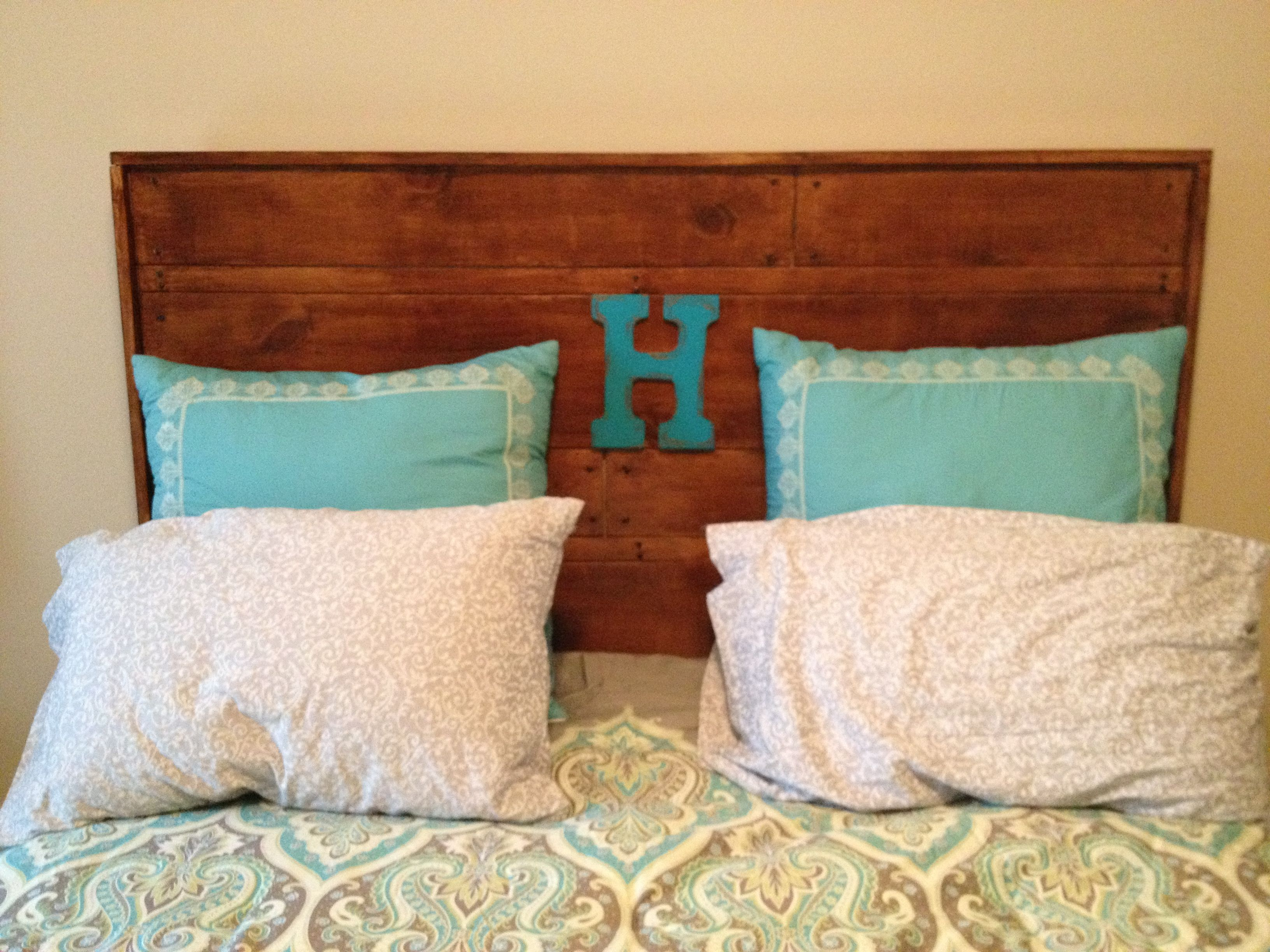 DIY headboard Wood from lowe s that we cut sanded and stained