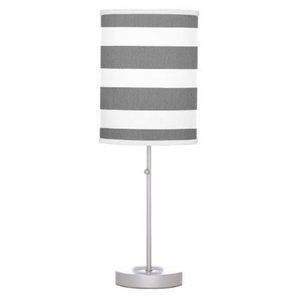 Gray And White Striped Custom Table Lamp Zazzle Com Striped Table Custom Table Lamp