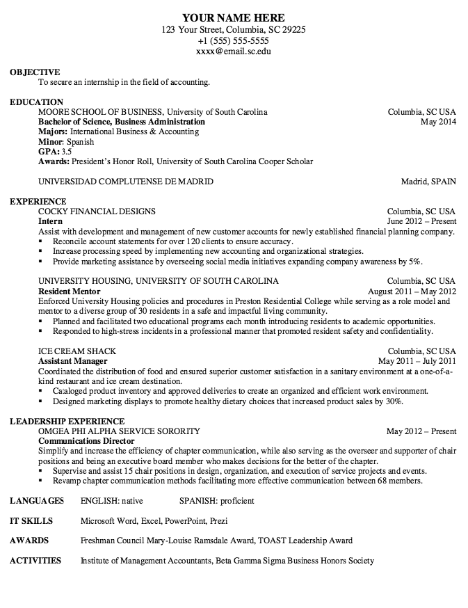 Example Of Resident Mentor Resume Examples Resume Cv Carolina Science Resume Business Administration