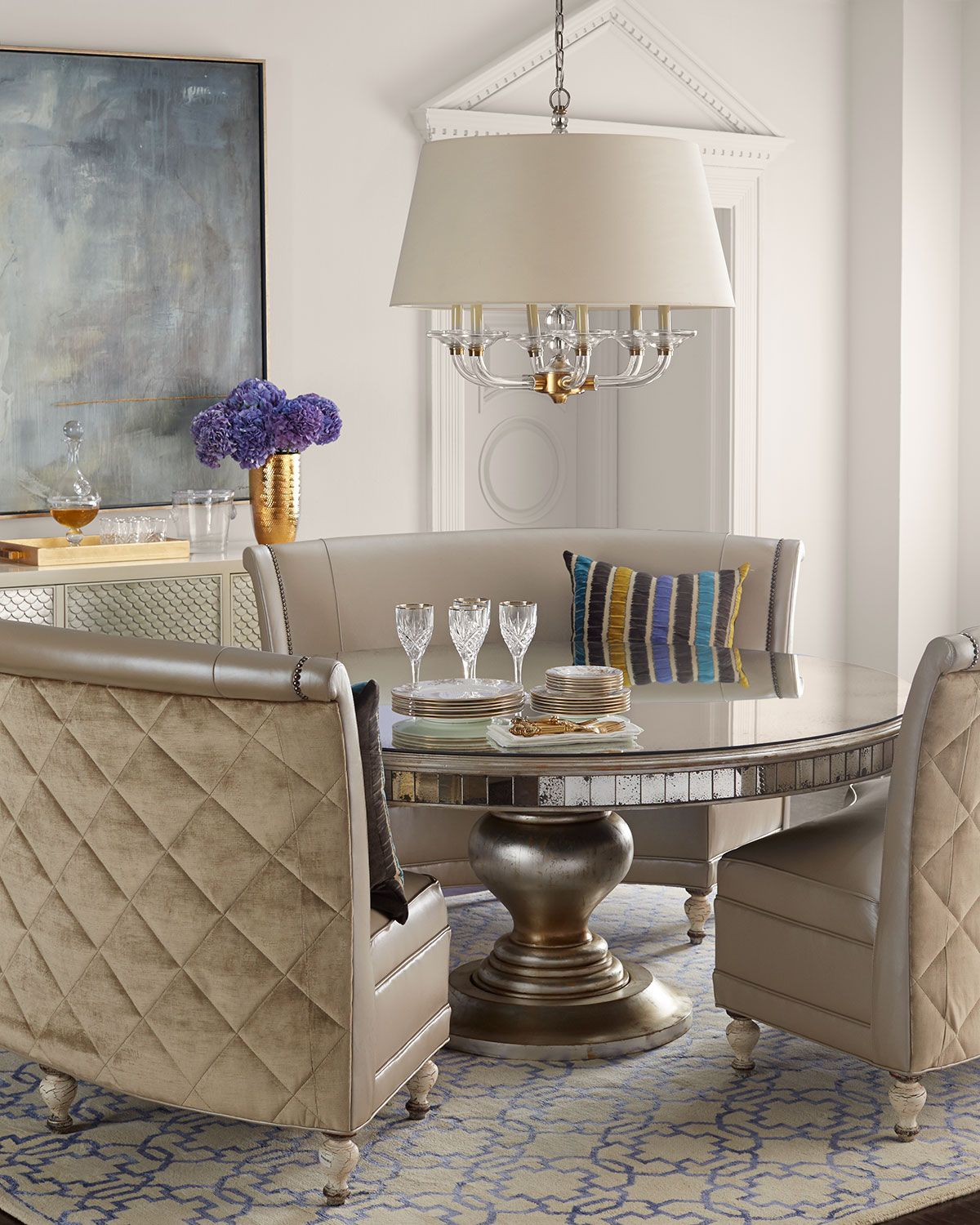 Old Hickory Tannery Patrice Banquette Lisandra Round Dining Table