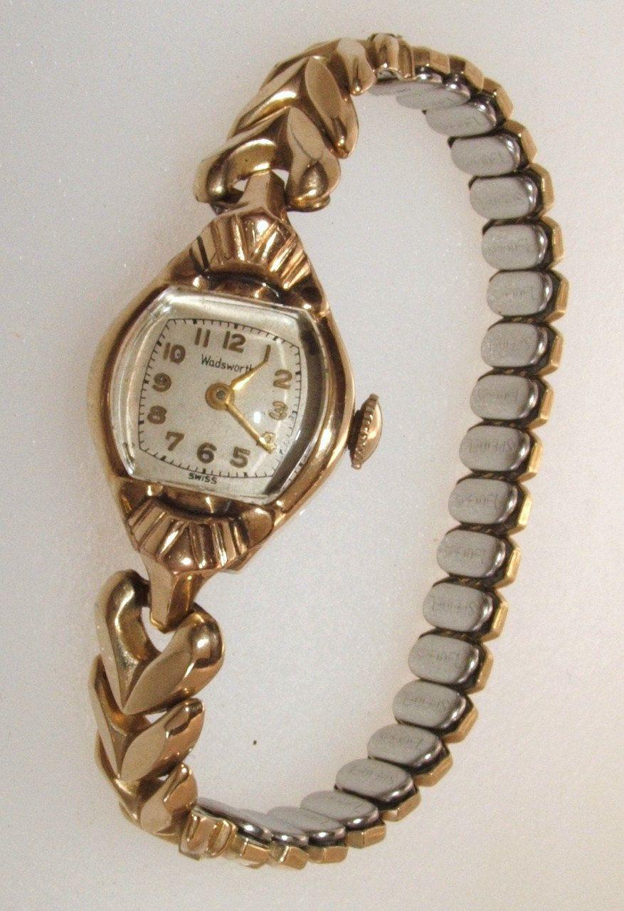 06218dbbb9d1 Vintage Ladies 1950 s Wadsworth Swiss 17 Jewels Wind Up Watch 10K GF ...