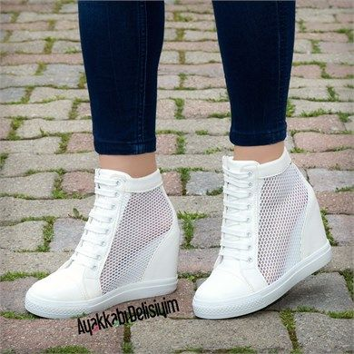 Jannara Beyaz Fileli Dolgu Topuklu Ayakkabi Topuklular Topuklu Ayakkabilar Bayan Ayakkabi