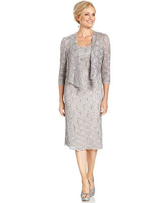 Alex Evenings Dress and Jacket, Sleevess Sequin Lace at Macy's