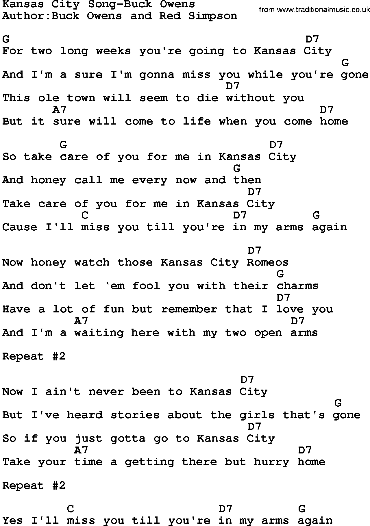 Buck owens song lyrics country music song kansas city song buck country musickansas city song buck owens lyrics and chords hexwebz Images