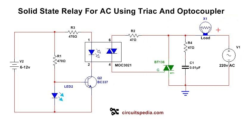 This Solid State Ac Relay Switch Circuit Is Useful In Ac Switching Without Mechanical Relay In This Solid State Relay Circui Circuit Relay Electronics Circuit