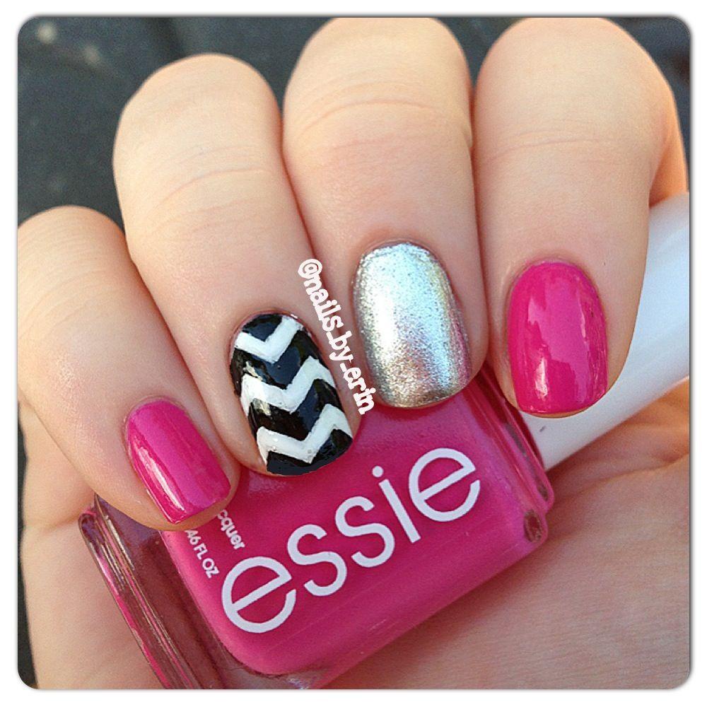 Pink chevron nails   Love It!   Pinterest
