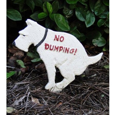 no dumping cast iron dog sign yard decor VINTAGE STYLE stop neighbors poop