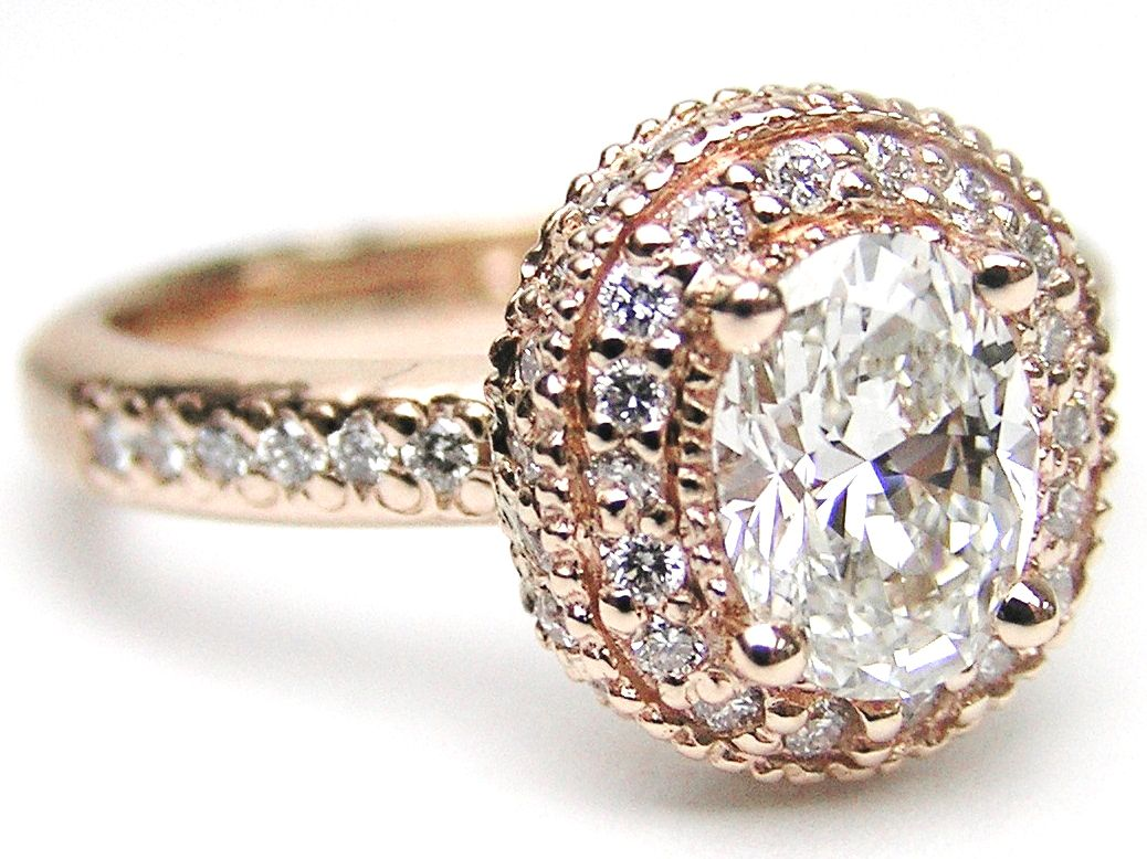 Pink Gold Oval Diamond Engagement Ring With Double Halo