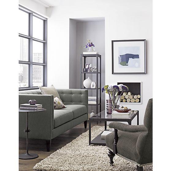 Aidan grey brown sofa crate and barrel living room - Crate and barrel living room ideas ...
