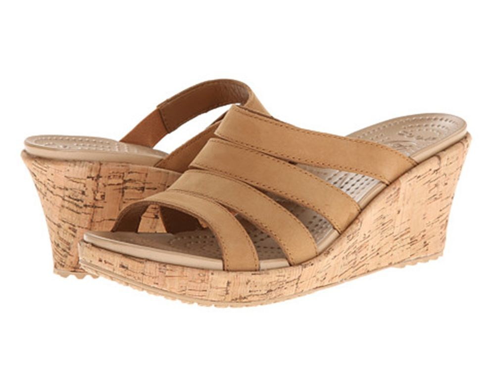 CROCS WOMEN'S A-LEIGH LEATHER WEDGE SANDAL COCOA GOLD BROWN NEW CROCS SALE