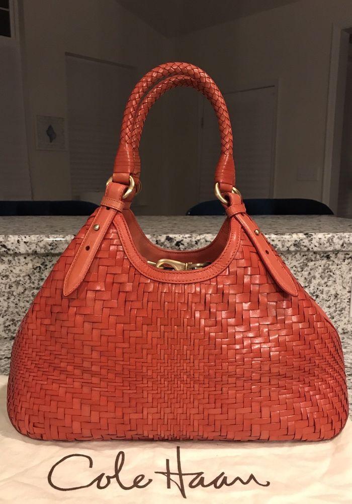 Cole Haan Genevieve Woven Leather Weave Hobo Tote Satchel Hand Bag Purse  EUC!  ColeHaan 9c6d679491272