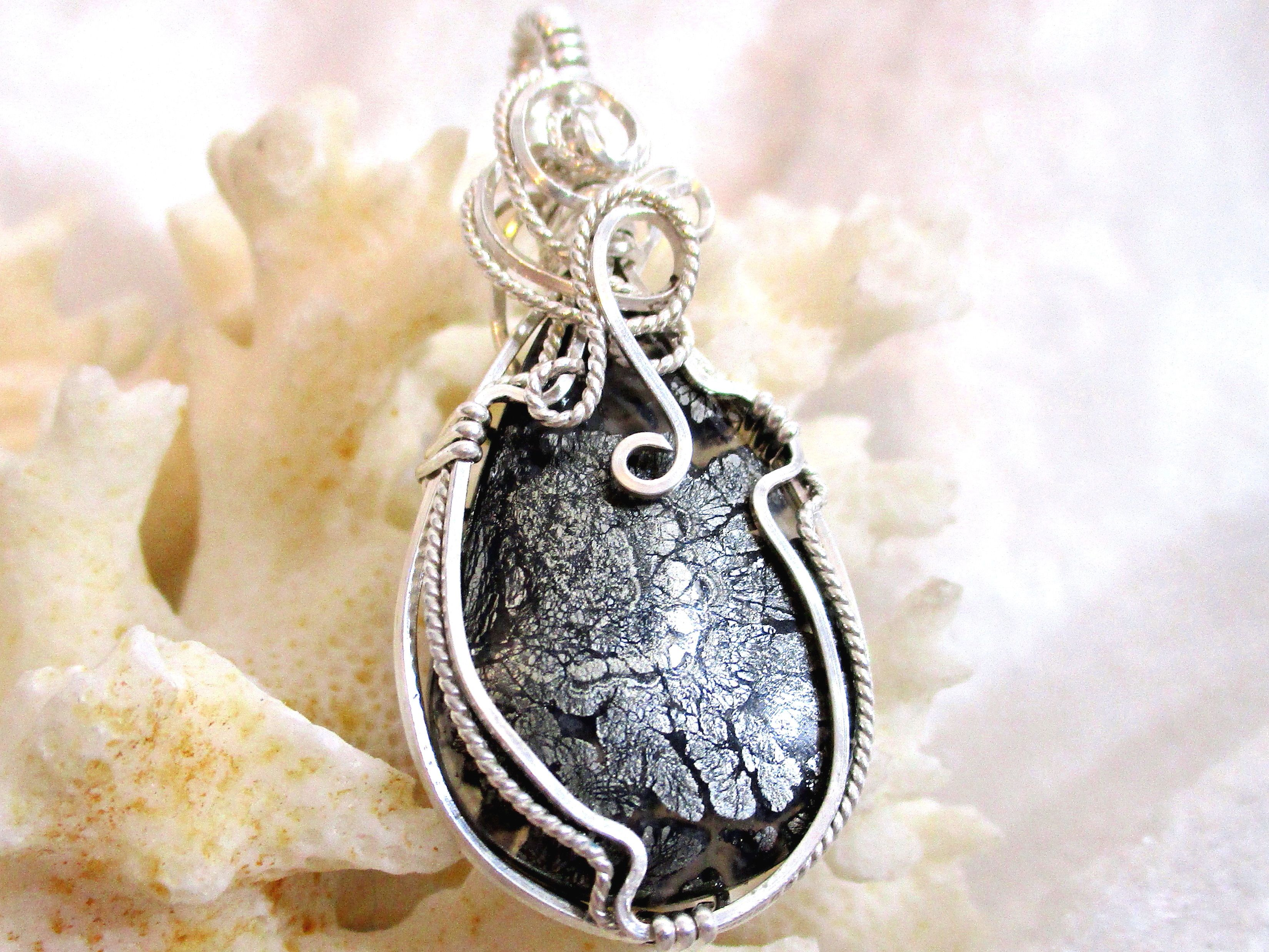White Shell Pendant Solid Sterling Silver 935 Wire Wrapped in Argentium Anti Tarnish wire Medium Mother of Pearl Pendant