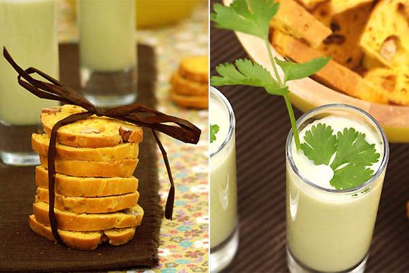 Soupe de fèves et de navets nouveaux à la coriandre, biscotti au curcuma, noix et parmesan