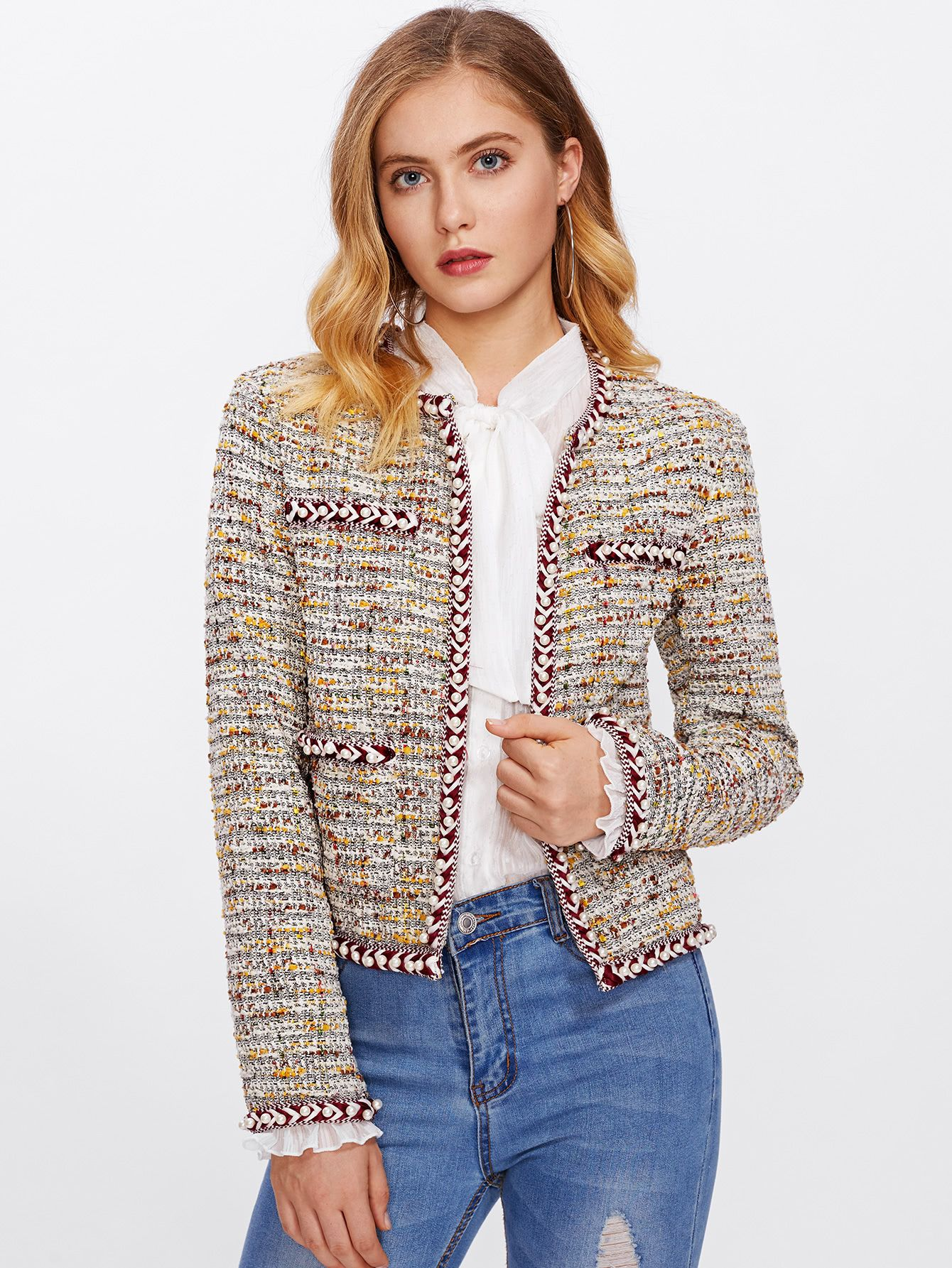 62ad739a64 Shop Pearl Beading Braided Tape Trim Tweed Blazer online. SheIn offers Pearl  Beading Braided Tape Trim Tweed Blazer & more to fit your fashionable needs.