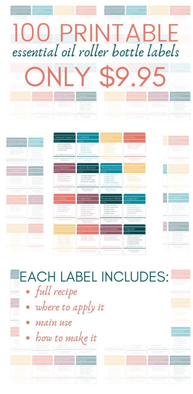 100 Essential Oil Roller Bottle Printable Labels in 2020