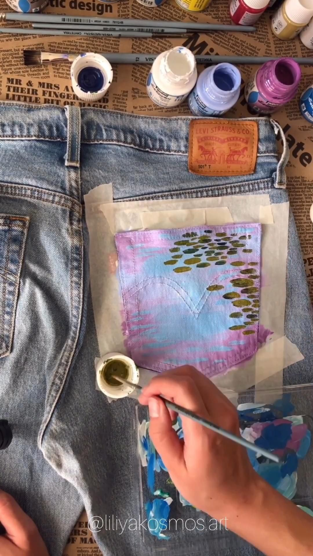 Hand painted jeans pocket Monet Waterlilies jean price Not | Etsy – Design/Clothing
