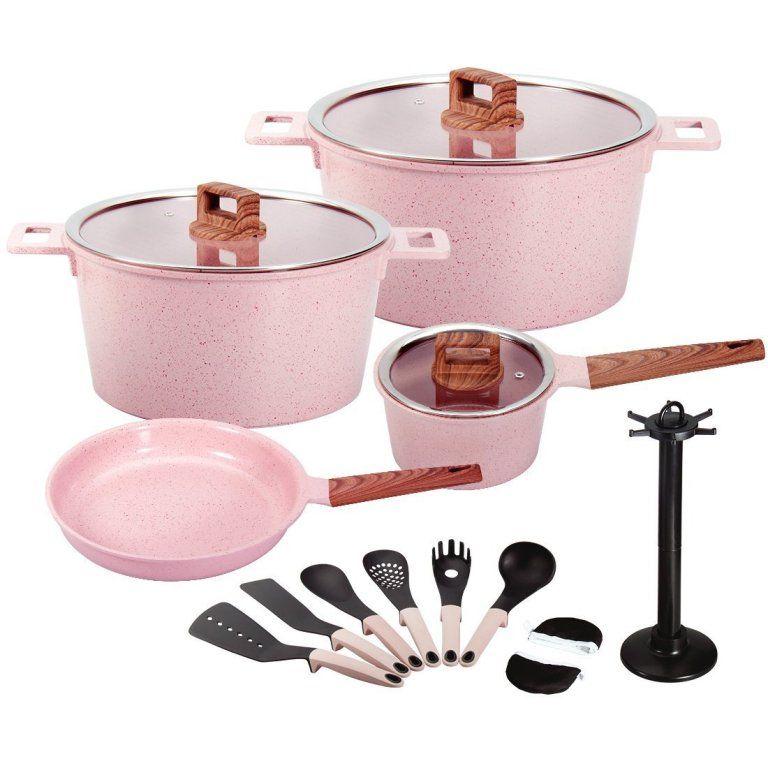 Pink Ceramic Cookware Set Utensil Pack Cookware Set Cooking