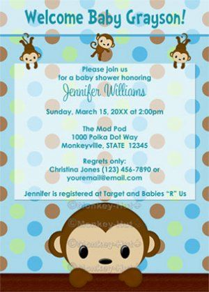 monkey themed baby shower | monkey baby shower invitation polka, Baby shower invitations