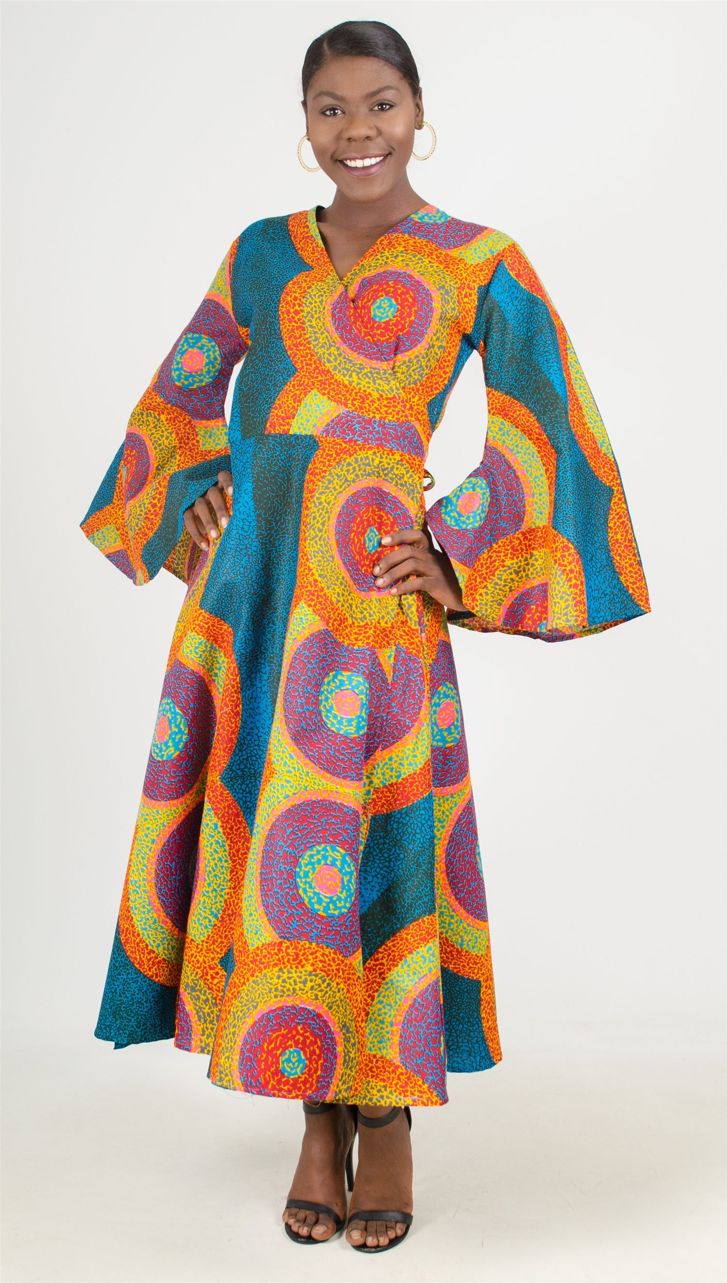 90a4f8d2347 African Fabric Print Wrap Dress w bell sleeves 100% cotton One size  85 FREE  Shipping (469)571-3647 or email DivasDenFashion gmail.com for an invoice