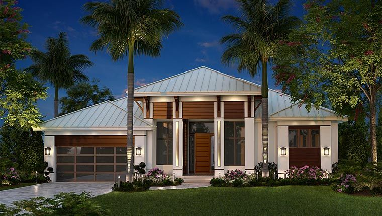 House plan 75989 coastal contemporary florida plan with for British west indies house plans