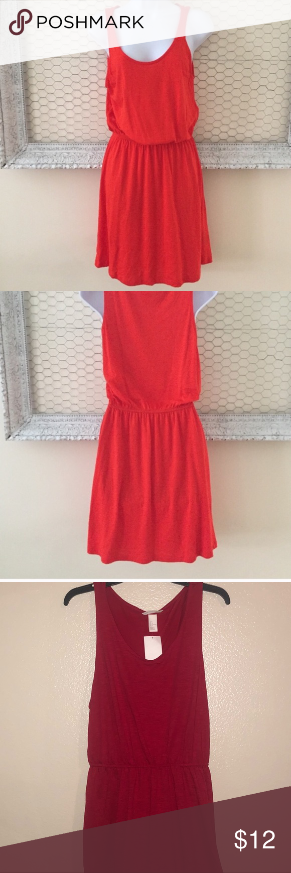 H M Red Basic Tank Top Dress Tank Top Dress Soft Dress Dresses [ 1740 x 580 Pixel ]