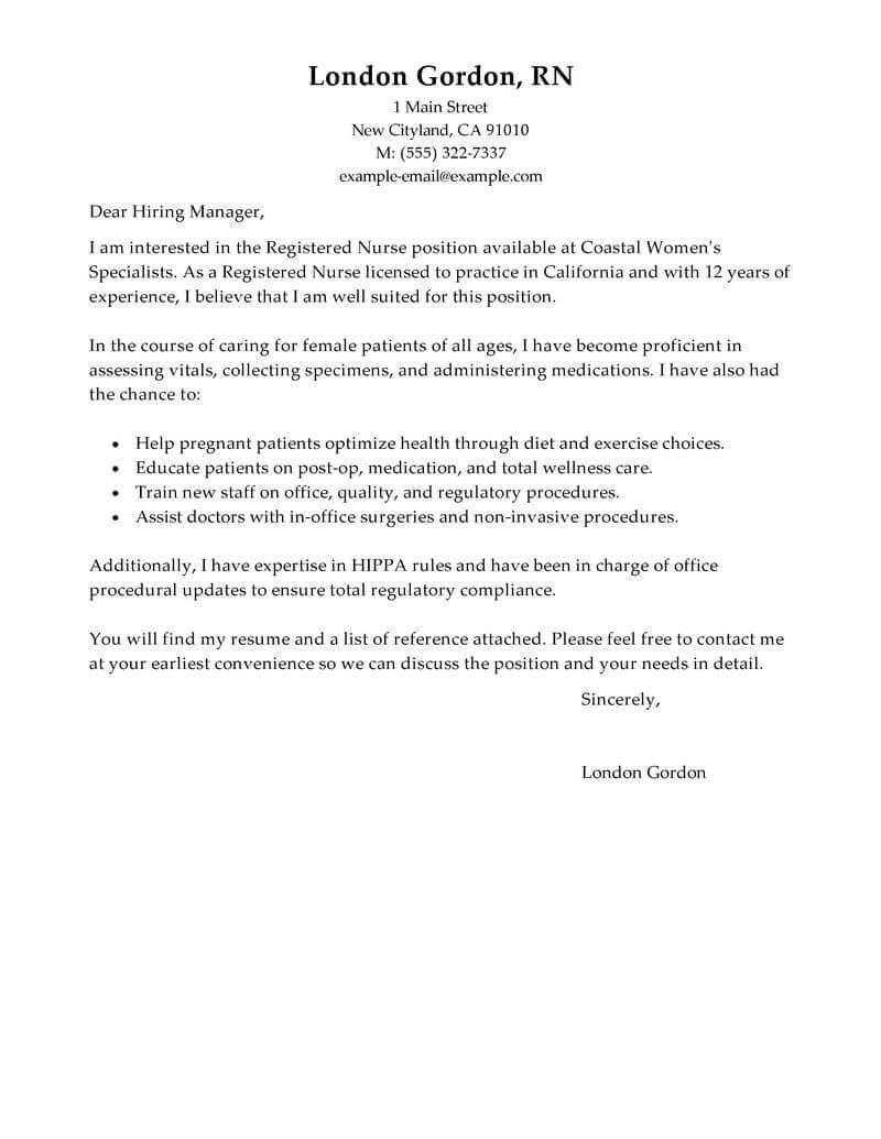 25 Sample Nursing Cover Letter Cover Letter For Resume Nursing
