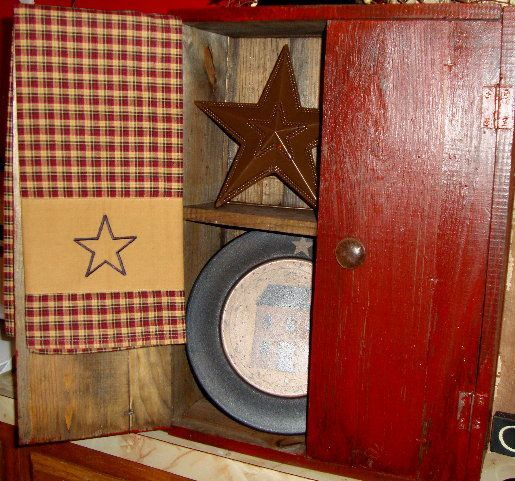 Primitive Wood Cabinet With Shelves Country Home Decor