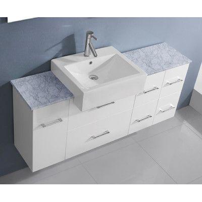 "Virtu Ultra Modern Series 60"" Single Bathroom Vanity Set with Mirror Base Finish: White"