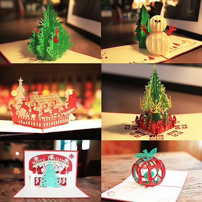 A variety of styles 3D Pop Up Christmas Handmade Greeting Cards Happy New Year U