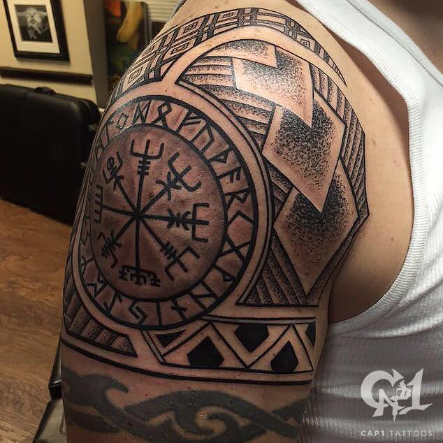 Tattoo Ideas Line Work: Polynesian Shoulder Tattoo
