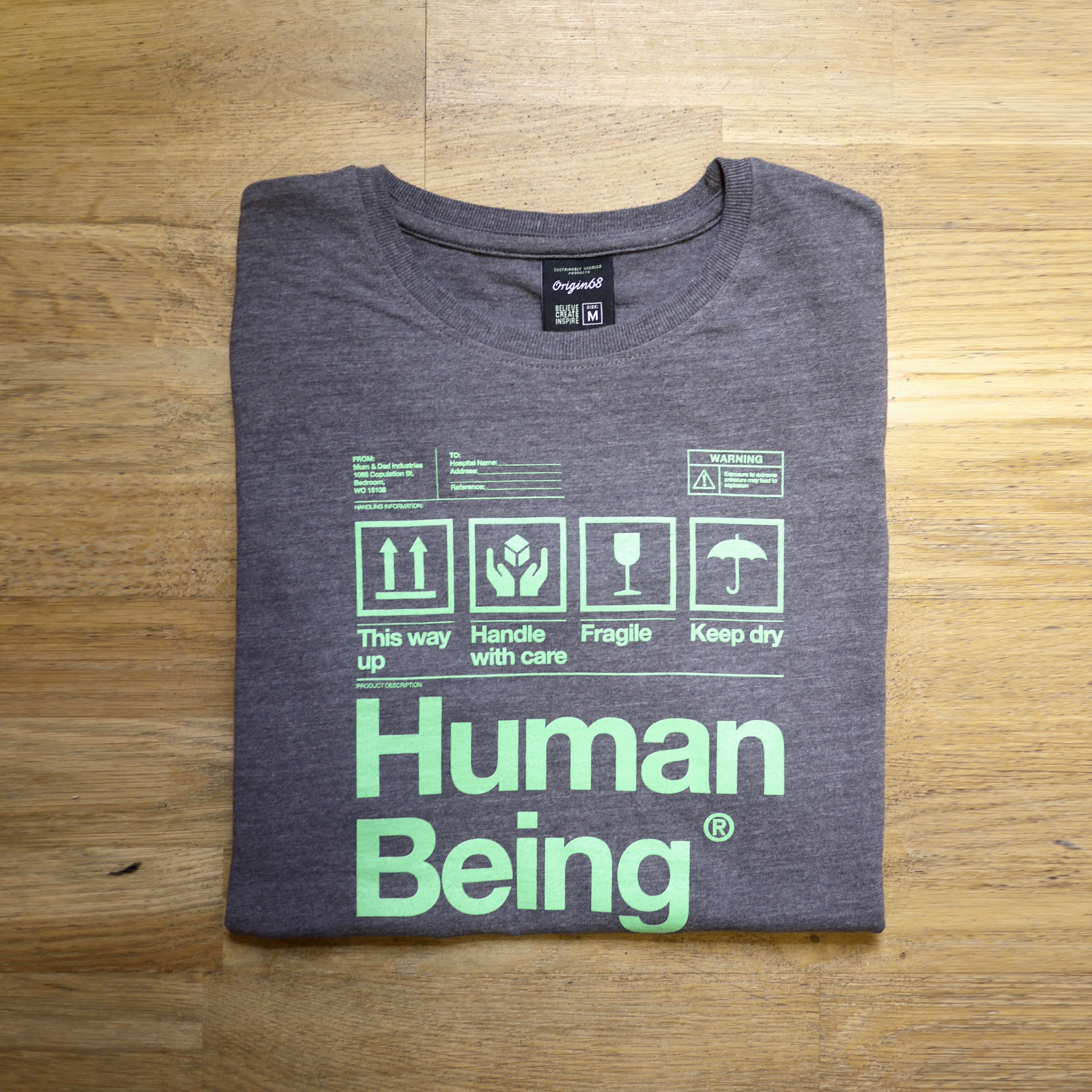 Shirt design and colour - Human Being Packaging T Shirt Design In Grey Green Colour Way Http