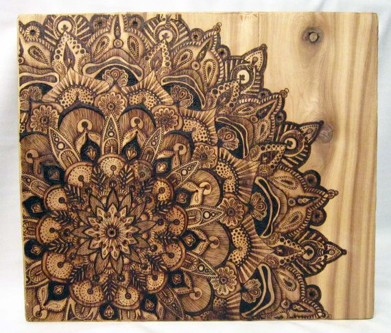 Original Artwork Large Pyrography Mandala By Tuffjulz On