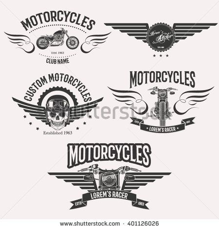 Vintage vector custom motorcycle racer stars logo set