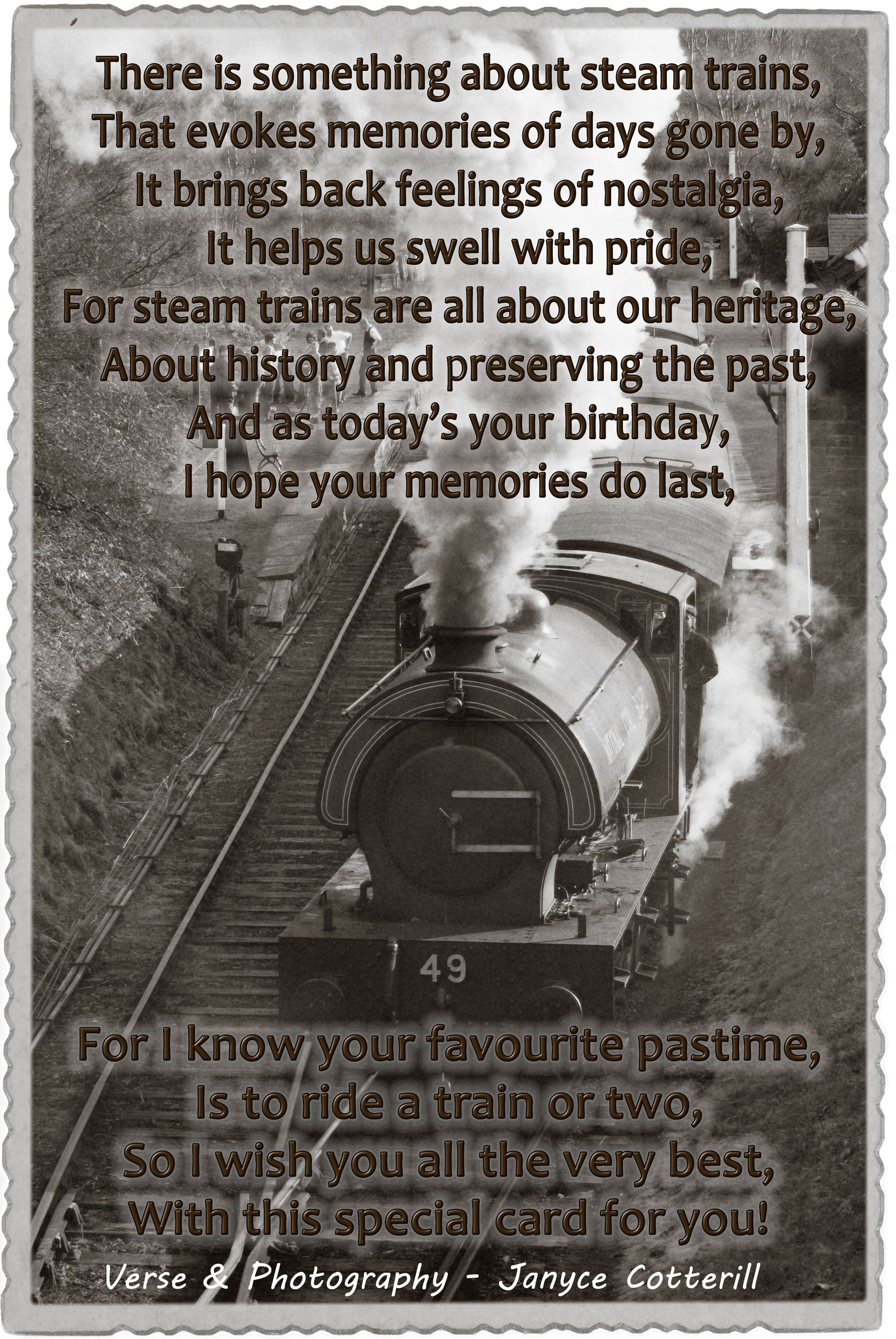 Steam Trains - this is my own verse, feel free to use it in your