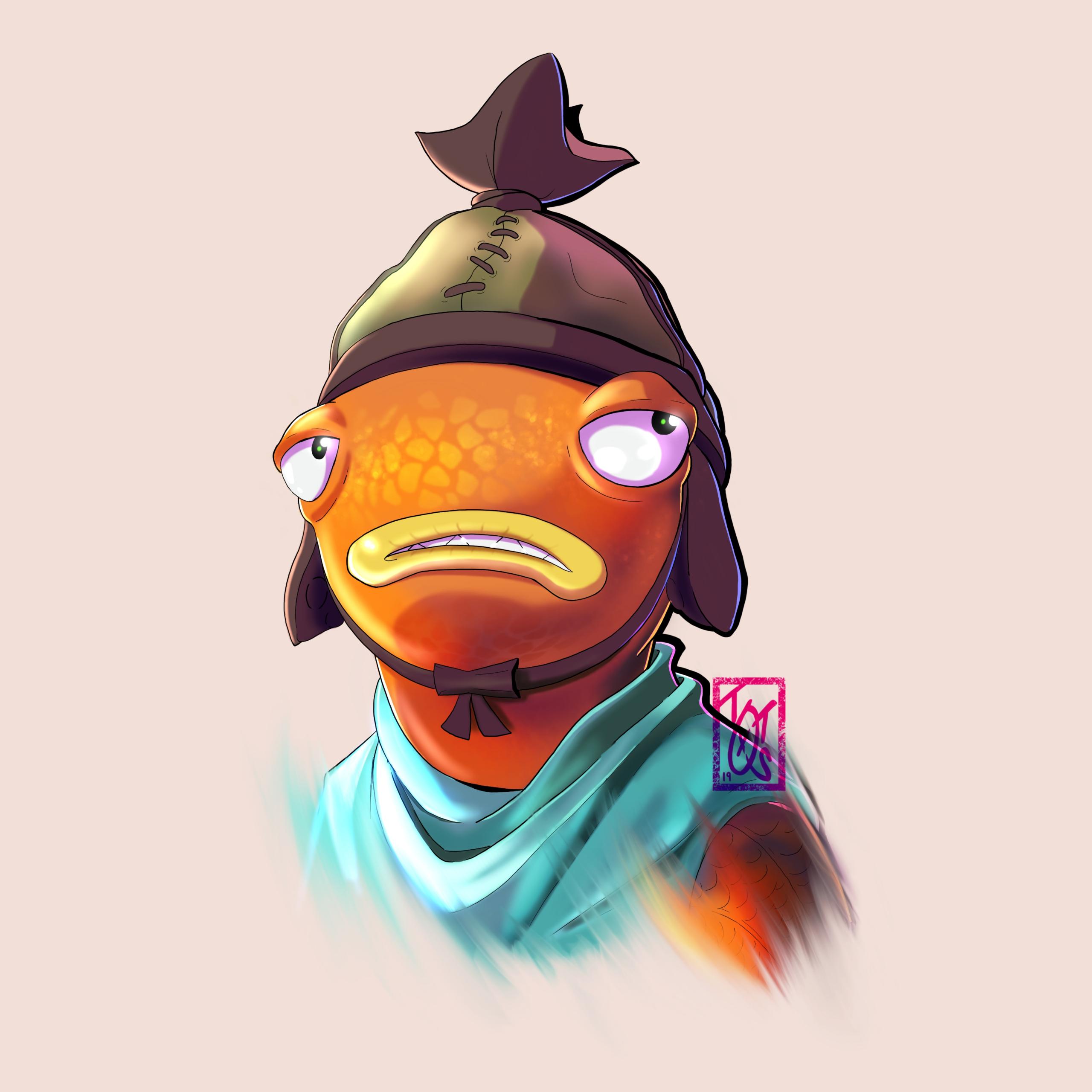 Skin Fortnite Logo Drawing Fishstick Is 1 Fanart Fortnitebr Scaled In 2020 Art Character Art Drawings