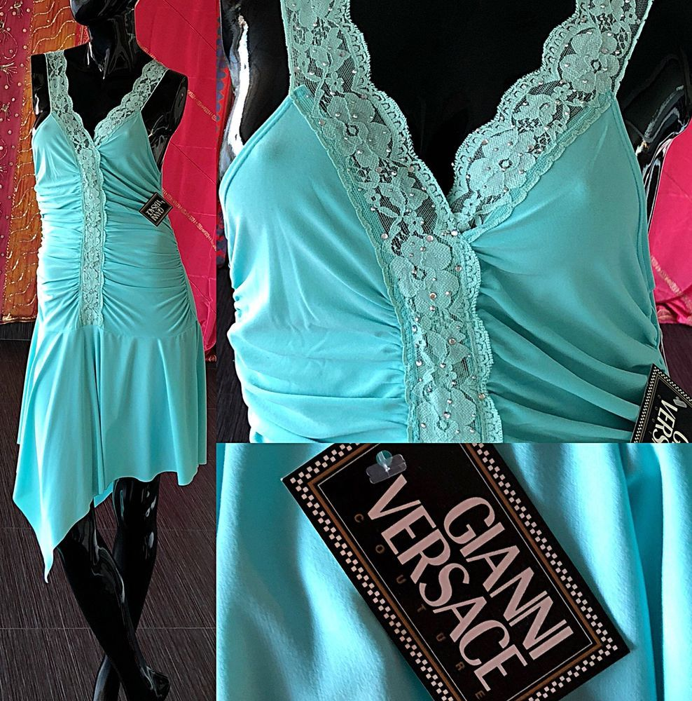 Vintage 90s Gianni Versace Couture Dress NWT Beaded Lace Party Dress ...