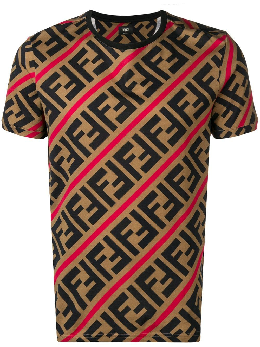 5f0d8e80 FENDI FENDI PRINTED FF LOGO T-SHIRT - BROWN. #fendi #cloth | Fendi ...